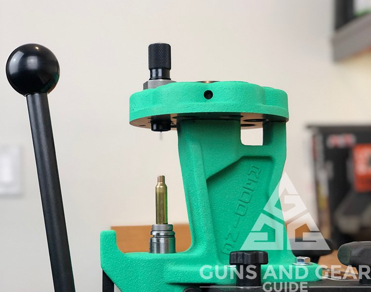The Redding T-7 Turret Press mounted on the reloading bench at Guns and Gear Guide.